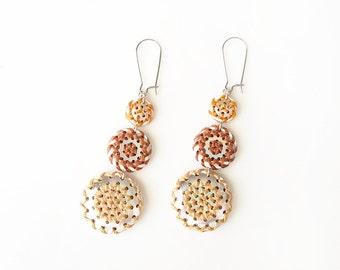 Hex Sign - EARRINGS - Pennsylvania Dutch, embroidery, barnstar, geometric jewelry, folk art jewelry, drop earrings, dangle earrings - browns