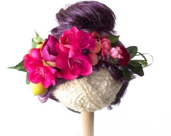 Fruit and Flower Crown - concert headband, festival headband, pinup headpiece, hippie headband - fabric flowers, lemons, berries, raffia