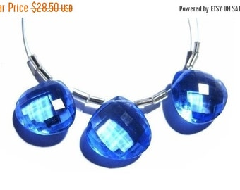 55% OFF SALE 3Pc Set of 15x15mm AAA Tanzanite Quartz Faceted Heart Shaped Briolettes super fine cutting and polishing