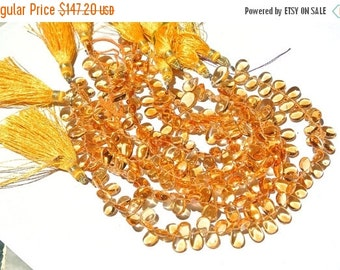 50% Off Valentine day 8 Inches Finest Quality Genuine Citrine Smooth Pear Briolettes Size 9x6mm Approx