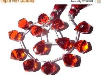 50% Off Valentine day 7 Inches - Orange Quartz Faceted Fancy Chandelier Briolettes Size 14x10mm 13 Pcs 6 Matched pair 1 Focal Pendant