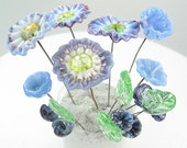 17 Handmade Glass Lampwork Flowers and Leaves on Wire   Blue and Purple Flower Garden