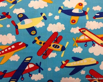 Airplane Fabric with Airplanes By Yard, Quarter Yard, Fat Quarter Blue Sky Clouds Jet Planes Boy Fabric Cotton Quilting Fabric t5/19