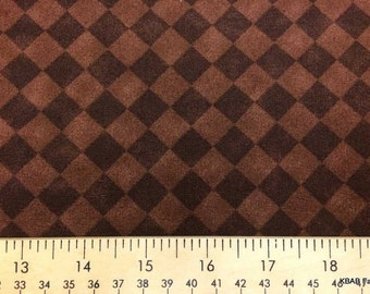 Coffee Brown Fabric By Yard or Half Yard Brown Diamond Geometric Check Fabric Cotton Quilting Fabric t4/4