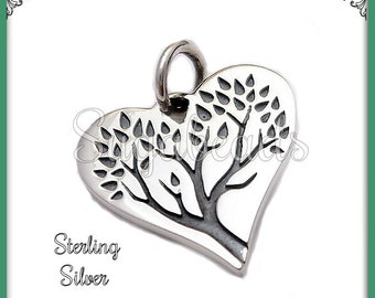 1 Sterling Silver Tree of Life Heart Charm 16mm - Sterling Silver Heart ND24