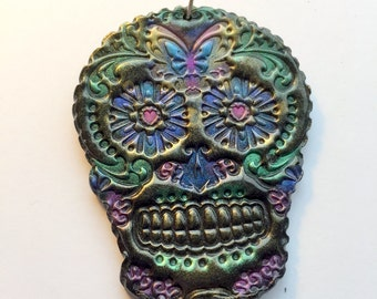 Butterfly Sugar Skull Day of the Dead Ornament or Decoration