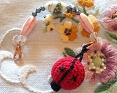 Embroidery Beaded Scissor Fob with Ladybug Pin Cushion Vintage Beads and Pearls