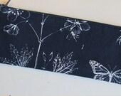 Slim pouch/pencil case in botanical print
