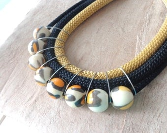 Leopard necklace, mustard statement necklace, black mustard rope necklace, chunky necklace green pearl necklace
