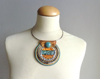 Mint black colorful necklace tribal necklace modern tribal