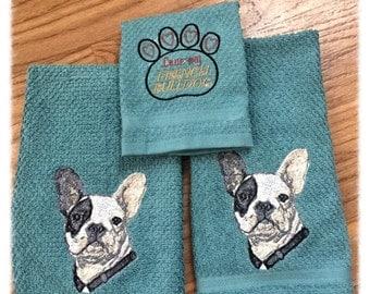 French Bulldog Hand Towel set