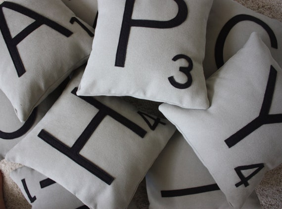 1 Scrabble Letter Pillow WITH INSERT // Scrabble Tile Pillow // Letter Pillow Cushion