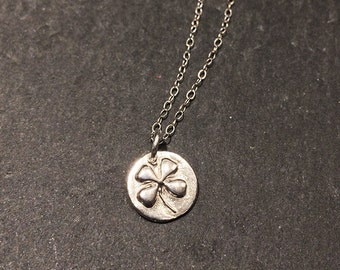 Good Luck Mini 4 Leaf Clover on Sterling Silver Chain