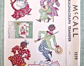 Vintage 1940s Kaumagraph Transfers for Potholders and Towels - McCall 1219 - ONLY TOWEL TRANSFERS