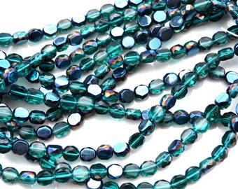 Deep Teal 8mm Faceted Fire Polish ROund Czech Glass Beads  25