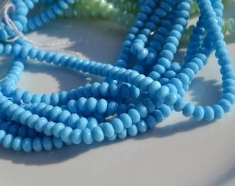 Sky blue 5x3mm Fated Rondelle Czech GLass Beads   50