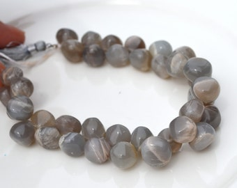 Large Organic Grey MoonStone Smooth Onion Briolette Beads  8