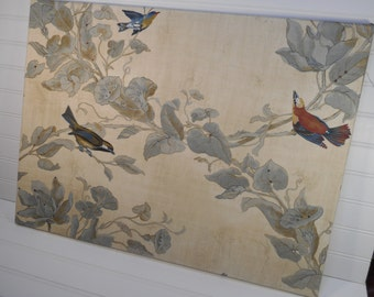 Swarovski Crystals Embellished Fabric Wall Art - Nature with 3 Birds