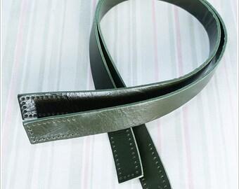 "1 pairs of Genuine Dakr Green Leather 23.75"" Handbag Handle Bag Supply"