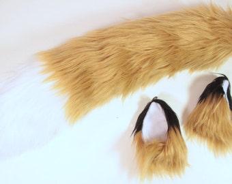 INSTOCK Tan Fox Costume Fox Ears, Fox Tail  cosplay, anime, nekomimi, Halloween, burning man