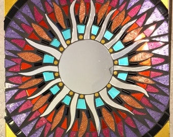 Stained Glass Celestial Mosaic Wall Hanging Mirror Sun