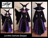 Choice of colors - Maleficent Inspired Top, Skirt, Under Bust Corset with Removable Collar and Horns by LoriAnn Costume Designs - Custom