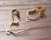 20 pcs Ear Clips Pierced Look with open loop Gold Plated, Clip on earrings ER018