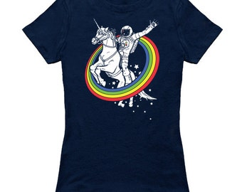 Epic Combo #23 astronaut riding a unicorn through a rainbow in space epic womens T-shirt