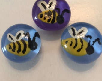 Bees bee Hand Painted glass gem magnets party favor favors