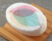 Felted Coconut Milk Soap - Berry Mimosa Scented decorated with Natural Skeleton Leaves