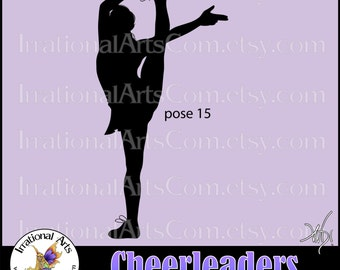Cheerleader Silhouettes Pose 15 - 1 EPS & SVG vinyl ready files, 1 png digital graphics, small commercial license {Instant Download}