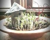 Miniature garden planter, fairy garden with cottage, indoor microgreens pottery, windowsill garden