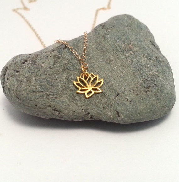 Tiny gold lotus flower necklace gold vermeil lotus necklace for Gemsprouts tiny plant jewelry