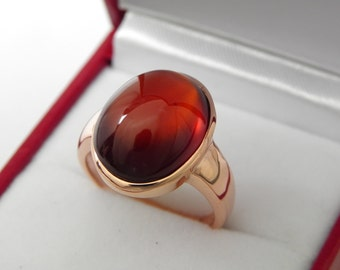 AAAA Hessonite Garnet   16x12mm  12.31 Carats   in 14K Rose gold ring, also available in White gold 0707