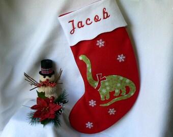 Personalized Christmas Stocking|Dinosaur Christmas Stocking|Traditional Red Felt Christmas Stocking|Kids Christmas Stocking|Christmas Decor|