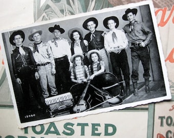 Vintage Cowboy Band Photo with Accordian, Two Girls, Cowboy Hats, Tumbling Tumbleweed Cowboy