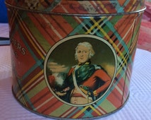 VINTAGE ENGLISH TIN, shortbread, tartan  plaid, metal container, biscuits, cookies, london