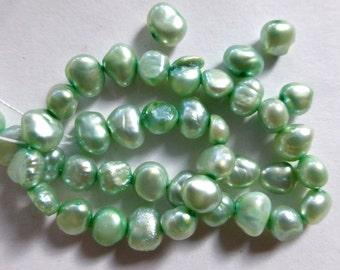 """Cultured Mint Green Potato Pearls  8"""" Strand 4-7mm (40)"""