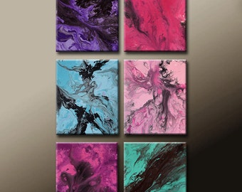 "6pc Abstract Canvas Art Painting Set 30"" Original Contemporary Painting by Destiny Womack - dWo -  Sweet Emotions"