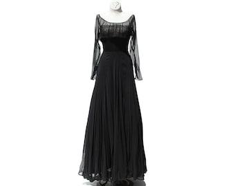 Vintage Black Chiffon Nude illusion Cocktail Dress / Super Full Skirt Dress