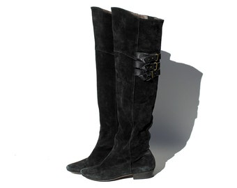 Vintage Black Suede Over the Knee Boots / size 9