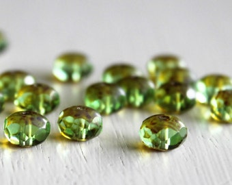 25 Lime Green Picasso 6x8mm Faceted Czech Glass Rondelles