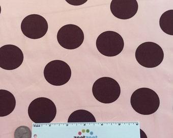 SALE Pink Brown LARGE POLKA Dot #61 Robert Kaufman Pimatex Cotton Quilt Dress Fabric by the Yard