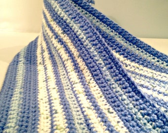 Shades of Blue and White Striped Hand Crocheted Orphan Scarf