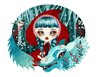Red of the Woods, 8 x 10 Art Print Digital Illustration, Little Red Riding Hood