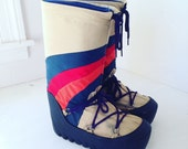 Vintage children's moon boots  size 3 size 4 red orange and navy stripes