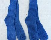 40% OFF SALE // natural indigo overdyed rib knit Turkish wool socks, unisex