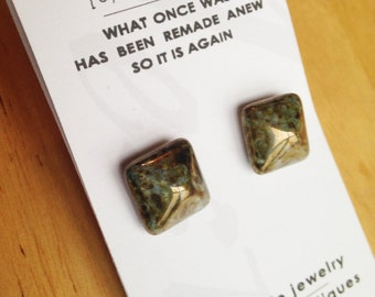 Upcycled 1940's Czechoslovakian Iridescent Bronze Pyramid Studs
