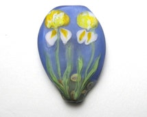 IRIS GARDEN Pink and Yellow Flowers with a Violet Blue sky, Glass Focal bead artisan lampwork sra, like a watercolor painting