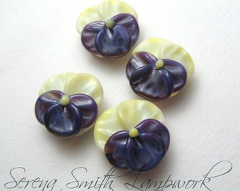 PANSIES Lampwork Floral Glass Beads handmade flower pansy jewelry supplies in purple and yellow